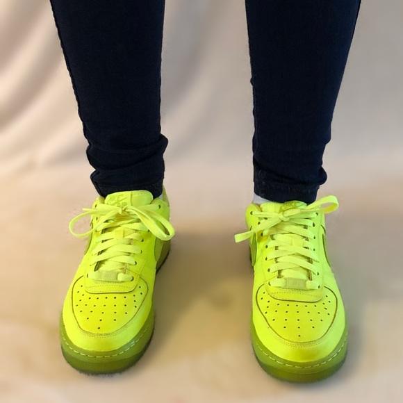 Neon Nike Air Force 1 woman's 8, men's 6.5